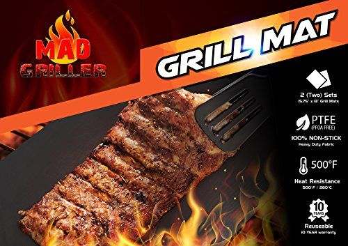 BBQ Grill Mat From Mad Griller (Set of 2) - Heavy Duty Nonstick, Reuseble, PFOA Free, Dishwasher Safe. Also Perfect As a Baking Mat for Oven Mad Griller http://www.amazon.com/dp/B00W62P3AC/ref=cm_sw_r_pi_dp_NKFfwb1Z0J74P