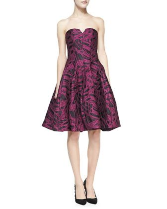 Strapless Jacquard Party Dress by Halston Heritage at Neiman Marcus.