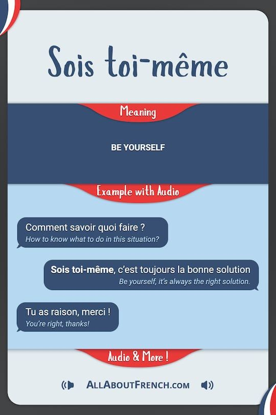 Sois Toi Meme Meaning In English Examples Pronunciation Learn French How To Speak French French Lessons For Beginners
