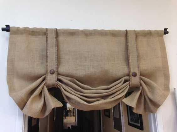 One of our most popular classics! Burlap is on-trend at the moment because of its neutral color and texture which makes it a great canvas for styling the home. Our customers often like to hang it in the kitchen for a homey, rustic look.  **IMPORTANT – PLEASE READ PRIOR TO PURCHASING**  When you receive this treatment, you need to manually hang this up by training and dressing it. I can not do it for you from a distant. This treatment will be pre-dressed for you to hang when you receive it…