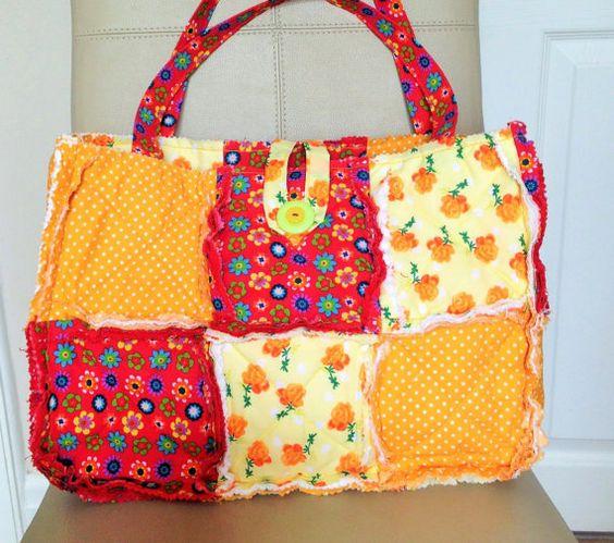 Rag Quilt Handbag Rag Quilt Tote Bag Patchwork by MrsMzSewingRoom
