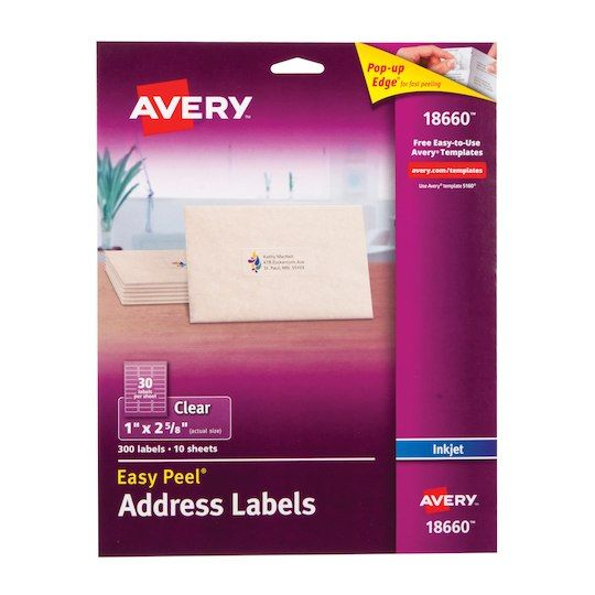 Avery Clear Address Labels 300 Pack Clear Address Labels Clear Labels Avery Address Labels