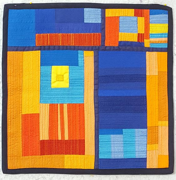A mini-art quilt that I made. I wanted to play with matchstick quilting to see how it would affect the colors of the quilt. I love it!  #fleurdelisquilts