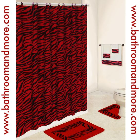 Shower Curtains bathroom ensembles shower curtains : Lush red zebra print bathroom set. Comes complete with fabric ...