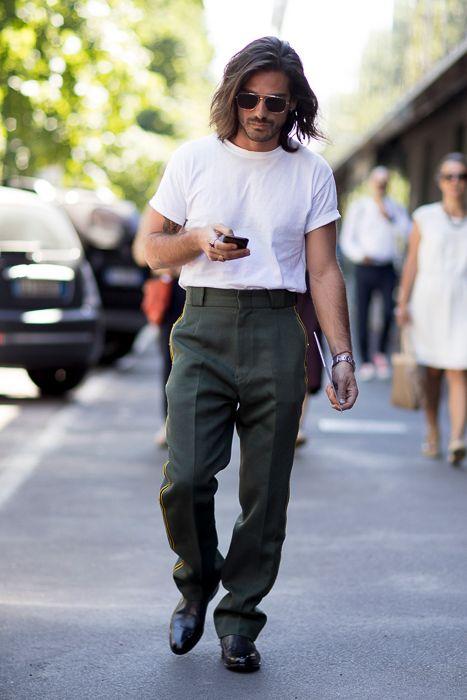 白Tシャツ海外メンズコーデMilan Men's Fashion Week SS18