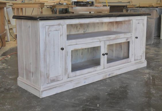 """70"""" Entertainment Console Cabinet, TV Stand, Reclaimed Salvaged Solid Wood, Vintage and Rustic"""
