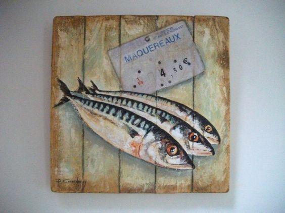 Maquereaux peinture sur bois philippe coeurdevey for Peinture sur bois