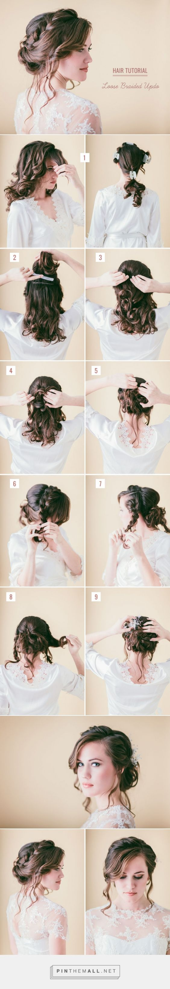 Hair Tutorial: Loose Braided Updo | Green Wedding Shoes Wedding Blog | Wedding Trends for Stylish + Creative Brides... - a grouped images picture - Pin Them All:
