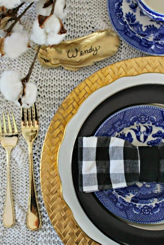 Southern Thanksgiving Table Setting- Gold, Blue, Black Gingham, Cotton Stalk and Painted Oyster Shell. Perfection!:
