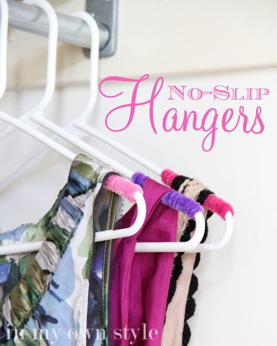 Love this idea for turning ordinary plastic hangers into non-slip hangers using pipe cleaners (chenille stems)! For more home organizing tips and ideas visit https://www.facebook.com/OrganizingYourHome