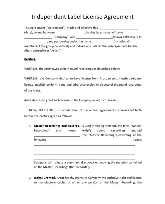 Music License Contract by qie13638 - music licensing contract - license agreement template
