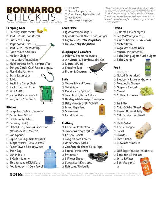 CHECKLIST - Equipment \ Food for Bonnaroo I canu0027t wait for - equipment checklist