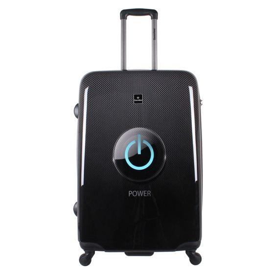 Großer #Reisekoffer Saxoline Power Button bei Koffermarkt: ✓Print-Motiv für #Geeks & #Nerds ✓4 Rollen ✓ABS-Polycarbonat-Hartschale ✓77x53x30 cm ⇒Jetzt kaufen