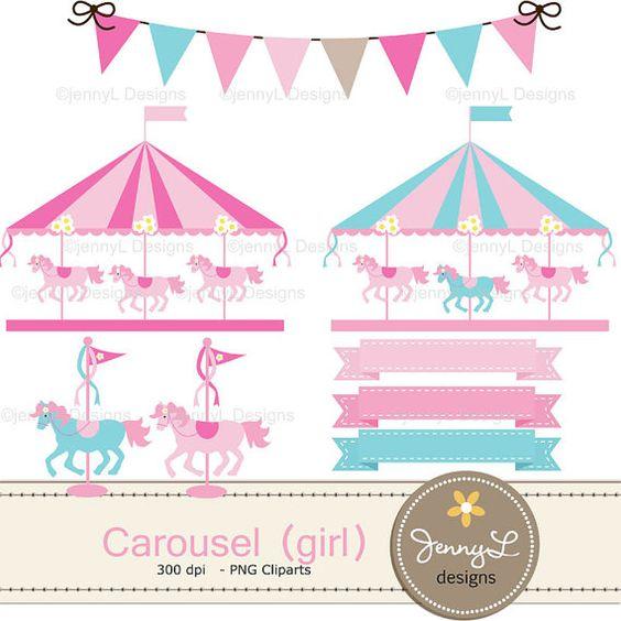 Carousel Digital Paper Pink Girl Horse by JennyLDesignsShop