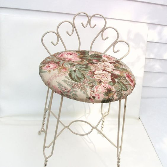Vintage Vanity Metal Chair Mid Century Stool Solid Frame With Whimsical Curled Back And Twisted Legs Cream V