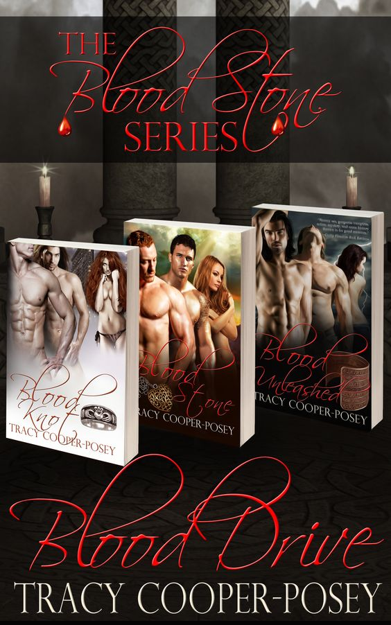 Blood Drive.  Boxed set of the first three books in the Blood Stone series. Erotic, MMF vampire urban fantasy. First edition cover. http://tracycooperposey.com/books/blood-drive/