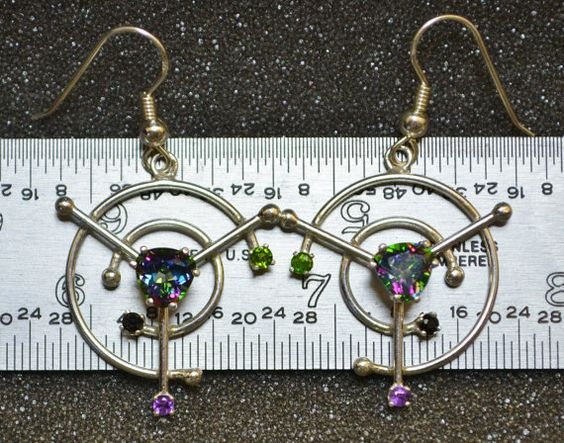 Mystic Topaz Broken Circle Earrings by AngelwearCreations on Etsy