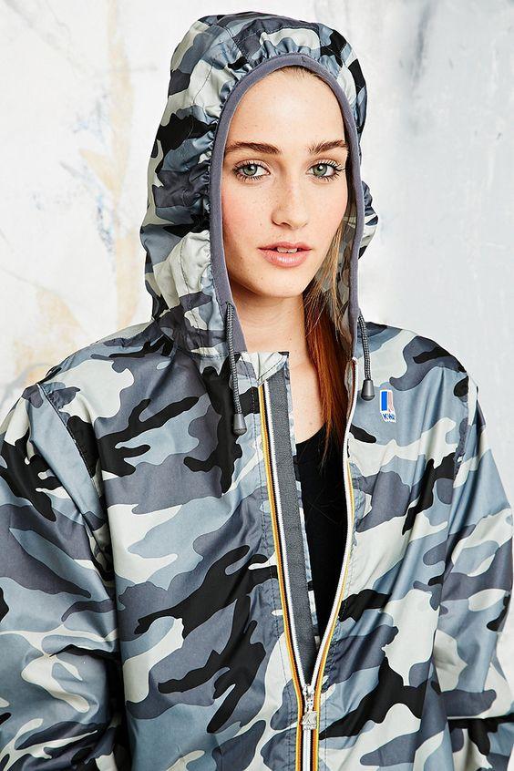 K-Way Claudette Waterproof Jacket in Camo Print - Urban Outfitters