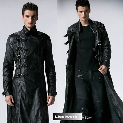 Men Black Leather Gothic Military Fashion Overcoat Trench Coat
