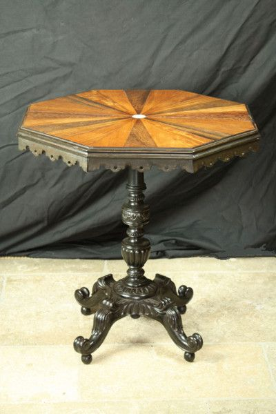 Anglo-Indian Ebony and Specimen Wood table circa 1840
