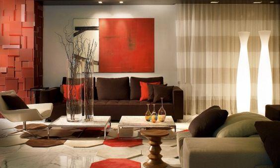 Schön Modernes Wohnzimmer Rot Braun Beige Kombination Möbel Deko | дом мечты |  Pinterest