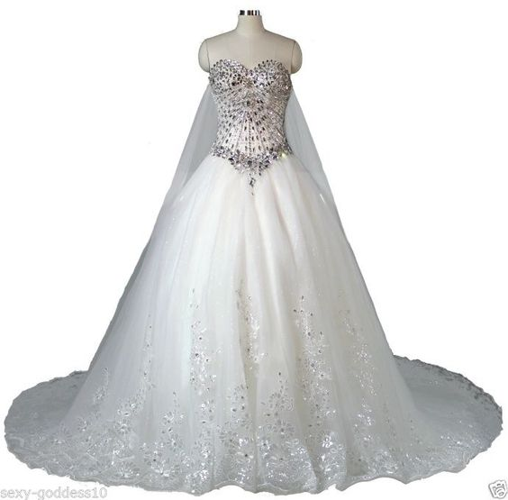 FairOnly Cathedral Train Wedding Dress Bridal Gown Size:6 8 10 12 14 16 ++Custom