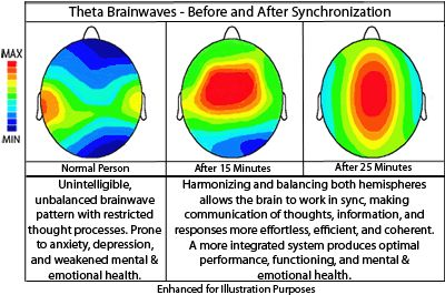 During meditation Brainwave Synchronicity increases along with increasing Alpha and Theta Brainwave Activity. There are 5 known levels of brain activity:  -Delta (1–4 Hz)(Sleep)   -Theta (4–8 Hz)(Trance Like, Minimal Conscious thought, brain synchronization)   -Alpha (8–12 Hz)(Deeply Relaxed)   -Beta (13–30 Hz)(Normal Activity)   -Gamma (30–70 Hz)(Extremely high levels of intellectual thinking)