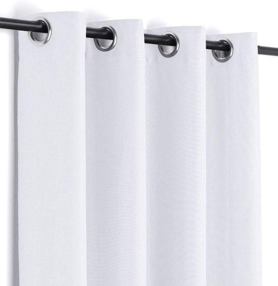 Leinen Optik Brilliant Ösenvorhang blickdicht, Gardine mit Ösen - gardine für küche