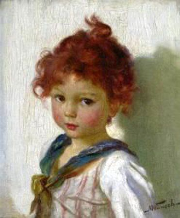 Marie (Mizzi) Wunsch (1862 – 1898, German). Such a cutie pie. Love the red hair, those eyes and rosy cheeks.  B.