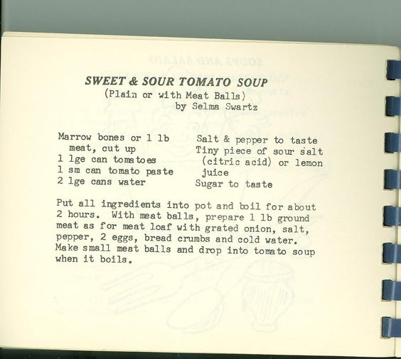 "Recipe for Sweet and Sour Soup. From ""Eating Pleasure by Sisterhood Measure"" (Shaare Tefila, Washington D.C., 1958)"