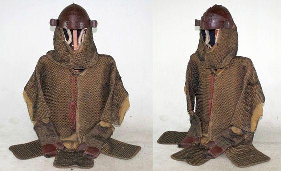 Antique Edo period samurai kusari katabira tatami gusoku (folding chain armor suit).