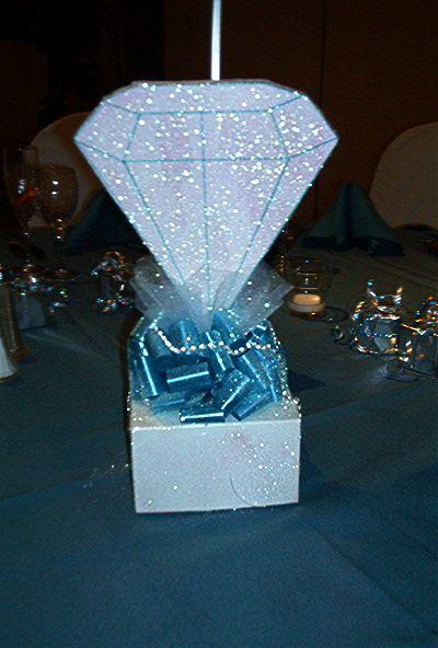 Diamond centerpiece denim and diamonds birthday party for Denim centerpieces