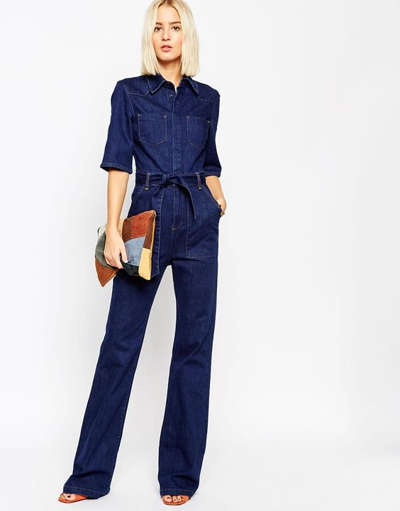 Image 4 of ASOS Denim Patch Pocket Flared Jumpsuit With Belt ...