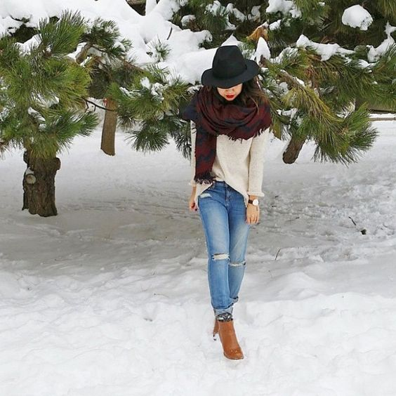 fall, winter, scarf, plaid, sweater, taupe, cream, skinny jeans, cognac, booties, boots, fedora