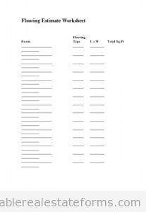 Printable Sample Prop Insp Flooring Estimate Worksheet Form