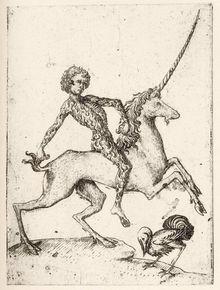 Speelkaart, kopergravure, ca. 1465.
