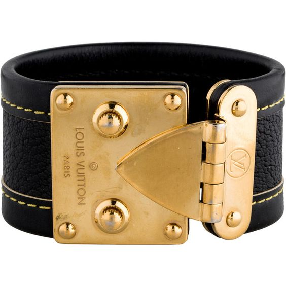 Pre-owned Louis Vuitton Suhali Lock Bracelet (£300) ❤ liked on Polyvore featuring jewelry, bracelets, louis vuitton jewelry, lock jewelry, louis vuitton, engraved jewelry and lock bangle