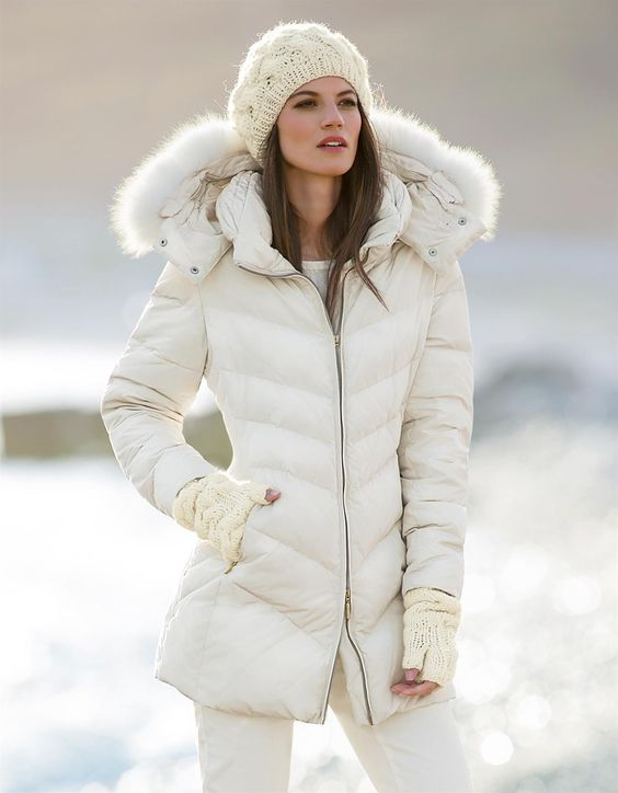 Down jacket with fur trim in the color wool white - white - in the ...
