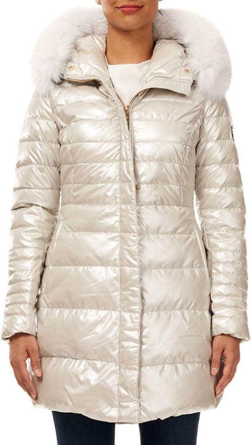 Gorski Apres Ski Quilted Puffer Jacket W Detachable Fox Fur Hood Trim Quilted Puffer Jacket Fur Hood Long Puffer Coat