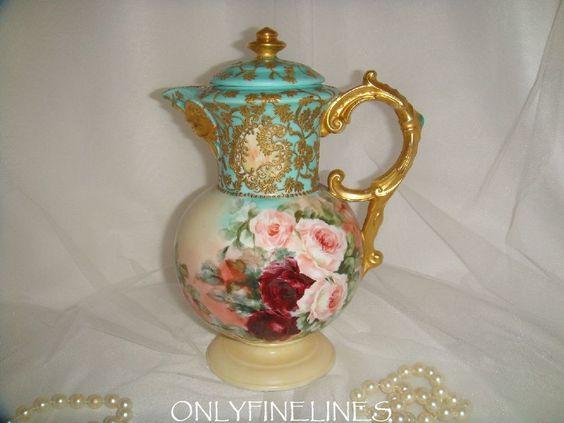 """""""Rare"""" Porcelain Chocolate Pot Mold com FACE - pintada à mão - de onlyfinelines na pista do rubi"""