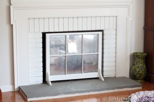 Painted-Brick-Fireplace