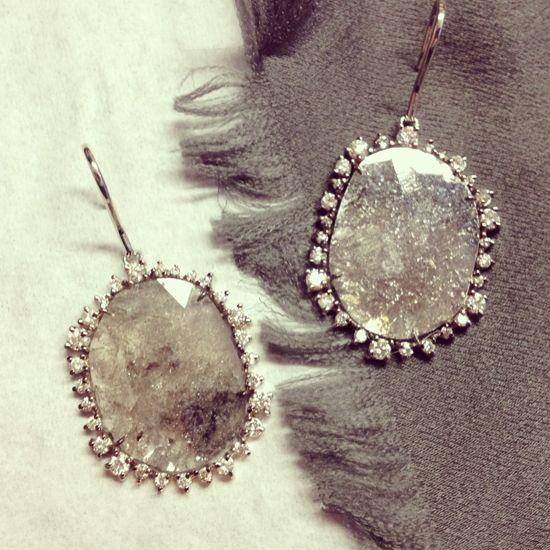 Kimberly McDonald 18k white gold and diamond slice earrings.
