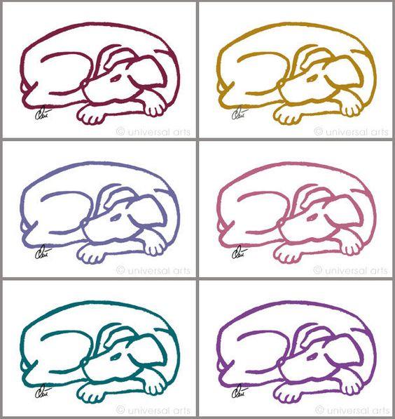 JACQUELINE DITT-  Dog-Red Gold Blue Rose Petrol Purple 6 Artcards (Karten) Hunde