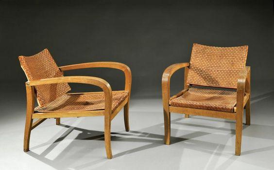 elizabeth eyre de lanux / oak and woven leather armchairs