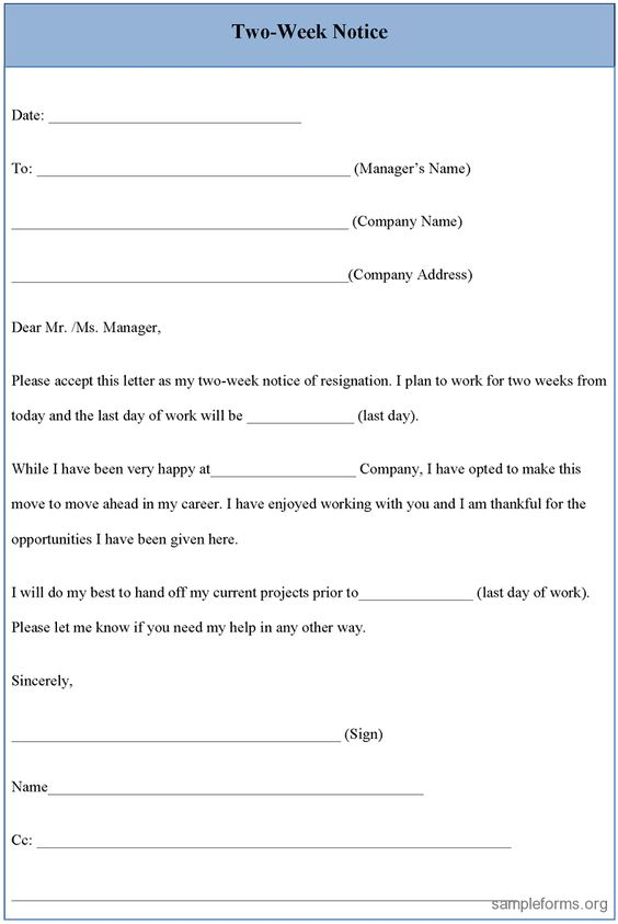 resignation letter sample 2 weeks notice two week notice form sample two. Resume Example. Resume CV Cover Letter