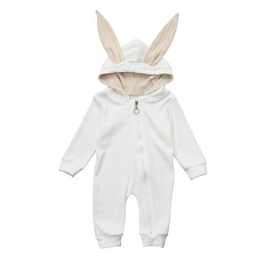 Newborn Baby Infant Girls Boys Winter Hooded Ear Cloak Romper Bodysuit Clothes