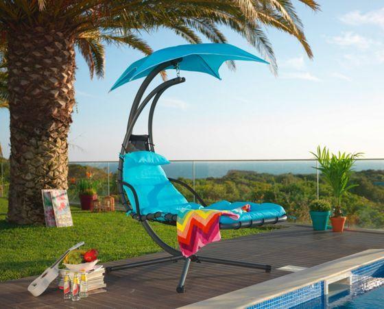 h ngesessel in grau und blau ein platz zum entspannen ab in den garten pinterest modern. Black Bedroom Furniture Sets. Home Design Ideas