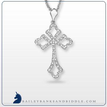 Diamond cross pendant in sterling silver