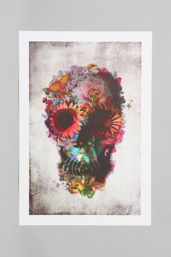 Ali Gulec Floral Skull Art Print - Urban Outfitters