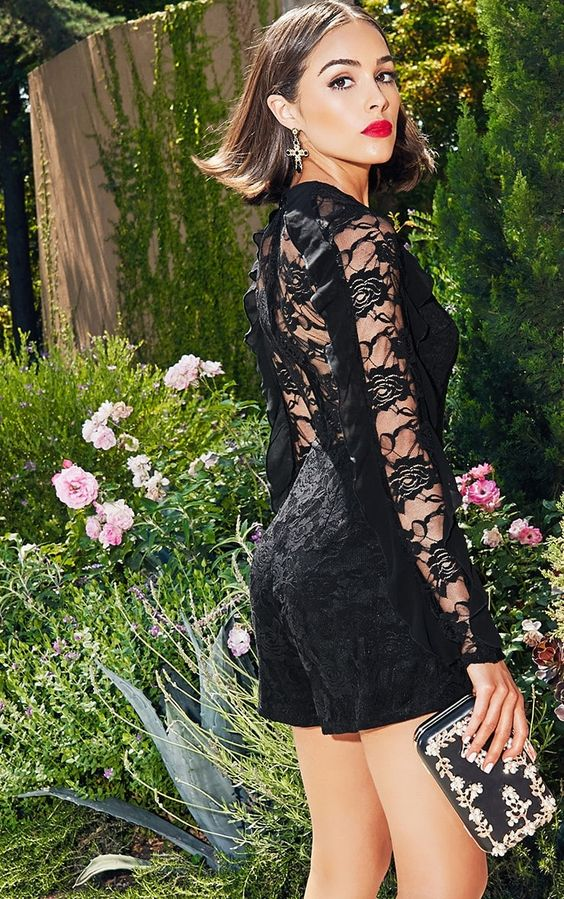 Black Lace Chiffon Frill Detail PlaysuitWe are loving this black lace playsuit - featuring a peek...